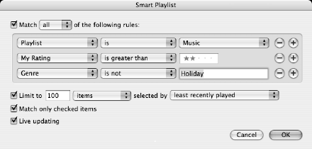 Screenshot of new 'Good songs I have neglected' Smart Playlist criteria.